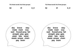 Sorting Activity - ay Sound Words