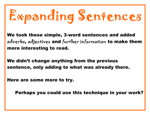 Extending sentences by fruitrach | Teaching Resources