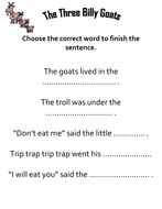 The Three Billy Goats Comprehension