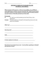 Standard English - formal and informal greetings