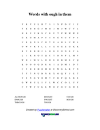 Wordsearch for -ough
