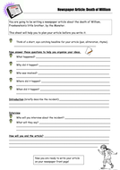 Death of William Newspaper Article Planning Sheet