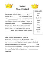 Macbeth: kings in Scotland - cloze activity