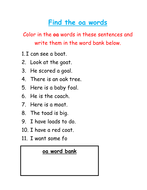 Find and color the 'oa' words