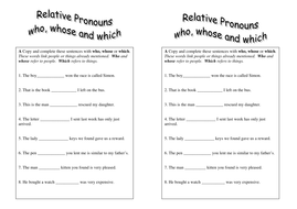 Relative Pronouns handout - Grade 4