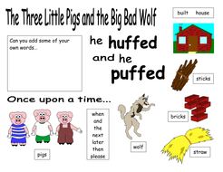 Word bank for The Three Little Pigs