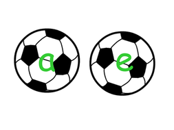 Phonemes displayed on soccer balls