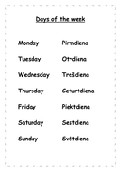 Days of the week in English/Latvian