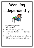 Guided and Independent Work Table Cards