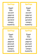 Spellings - Ancient Egypt topic