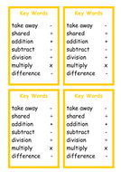 Key Words Cards for Math Terms