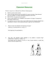 Macbeth response sheet.