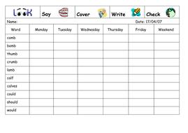 Spelling Week 19  - April 17th 2007.doc