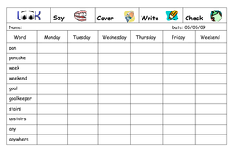 Spelling Week 21  - April 30th 2007.doc