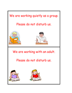 Table cards for quiet working