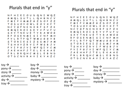 Plurals that end in y wordsearch