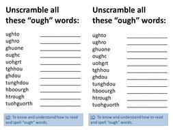 ough spelling words unscramble