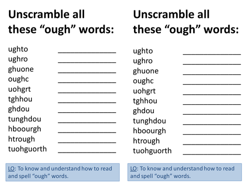 All Worksheets » Phonics Ough Worksheets - Childern and Parenting ...
