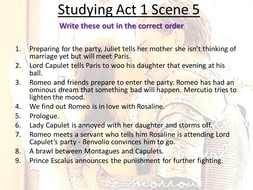 Romeo and Juliet Studying Act 1 Scene 5
