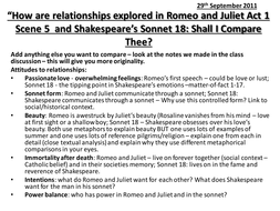Romeo and Juliet Act 1 Scene 5 and Sonnet 18