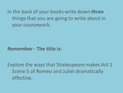 Romeo and Juliet - Essay Planning