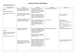 Science Fiction and Fantasy Scheme of Work