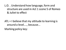 Language; form and structure in Act 1 scene 5 R&J