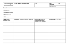 Guided read planning format