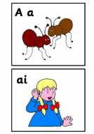 Jolly Phonic flash cards in color
