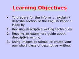 Full lesson PowerPoint on descriptive writing