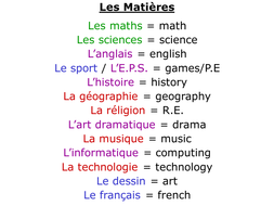 list of school subjects in french english by rosaespanola