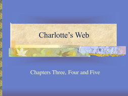 Charlotte's Web - Chapters 3;4 and 5 - Activities
