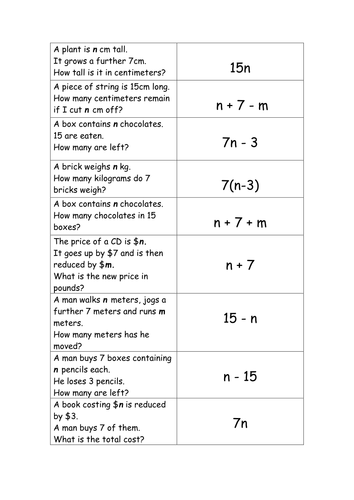 Worksheets Translate Algebraic Expressions Worksheet algebraic expressions match up activity by kkimirwin teaching resources tes