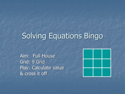 Solving Equations Bingo.ppt