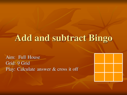 add and subtract Bingo.ppt