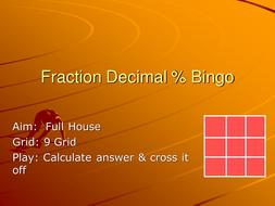 Fraction decimal % Bingo.ppt