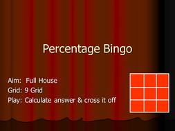 Percentage of Bingo.ppt
