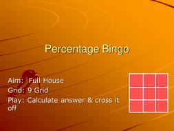 Percentage increase Bingo.ppt