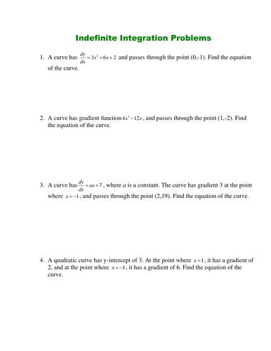 Indefinite Integral Worksheet Doc Indefinite Integral Worksheet