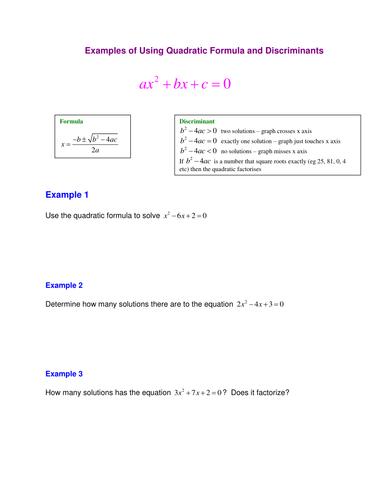 A Level Maths C1 Quadratic Formula Worksheet By Srwhitehouse