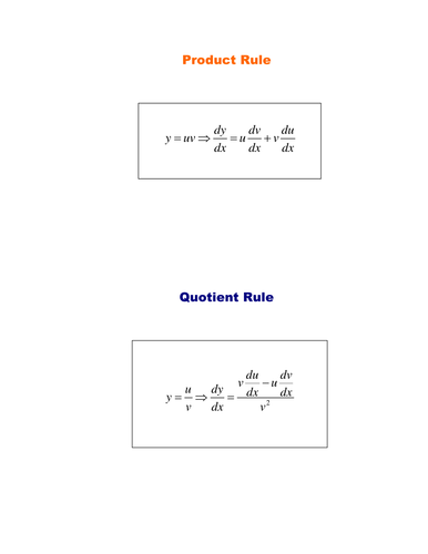 Worksheets Quotient Rule Worksheet product and quotient rules by srwhitehouse teaching resources tes