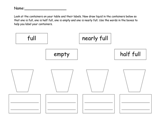 Reading Comprehension 1st Grade Worksheets Word Capacity  Full Half Full Nearly Full Empty By Emmsie  Grade One Subtraction Worksheets Word with Writing Algebraic Expressions From Word Problems Worksheet Excel Capacity  Full Half Full Nearly Full Empty By Emmsie  Teaching  Resources  Tes Personal Mission Statement Worksheet
