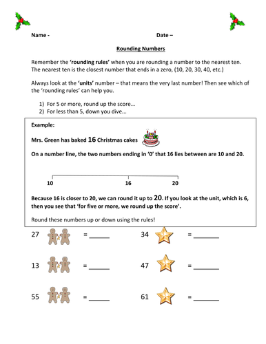 Christmas Rounding Sheet by femmefish86  Teaching Resources  Tes