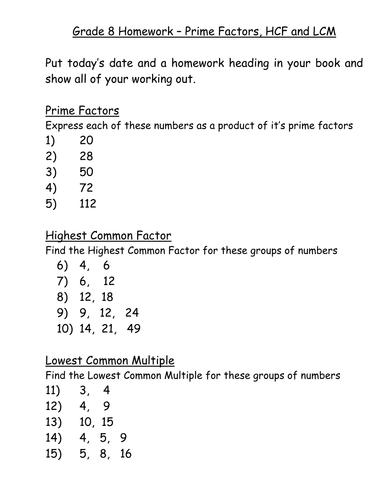 KS3 Worksheet – L5 Prime Factors HCF and LCM by mrbuckton4maths ...
