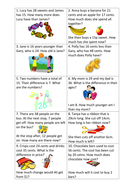 Math word problems differentiated worksheets