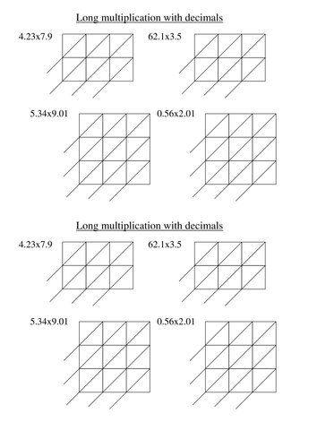 Long multiplication with gelosia worksheets by Tristanjones ...
