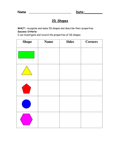 D And Shape Worksheets By Ehazelden Teaching Resources Tes 2d ...