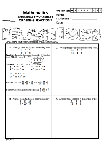 Ordering Fractions using the LCM method by jinkydabon - Teaching ...