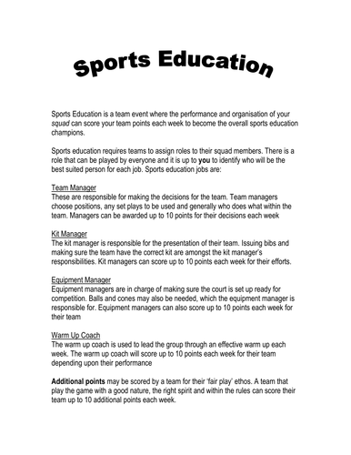 basic sports education team sheet roles by knuttytart teaching