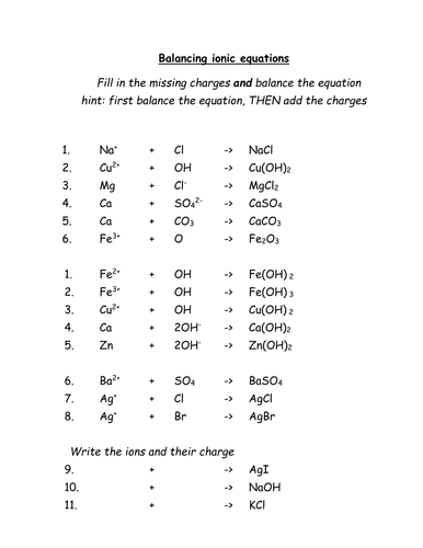 Balancing ionic equations worksheet KS4 OCR-C5 by beansontoast1 ...